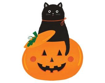 Classic Baby Crewneck T-shirt | Cute Baby Tee | Black Cat Halloween Pumpkin