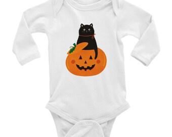 Classic Baby Long Sleeve Onesie | Cute Onesie | Black Cat Halloween Pumpkin