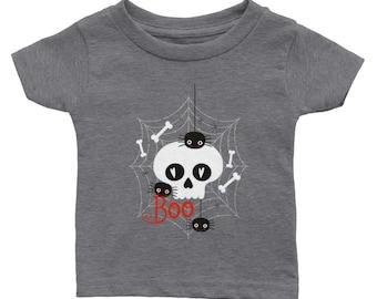 Classic Baby Crewneck T-shirt | Cute Baby Tee | Skull & Bones | Spiders Halloween Boo