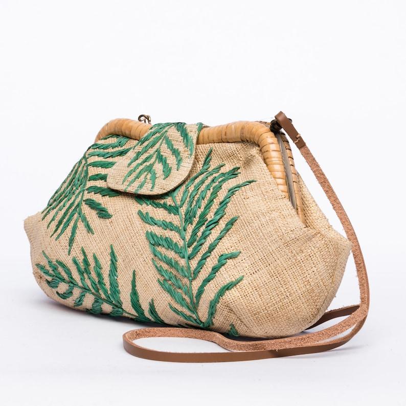 Floral palm leaf embroidered clutch Summer Beach Resort Raffia rattan frame Purse packable for travel Sac \u00e0 main vegan Straw Clutch Bag