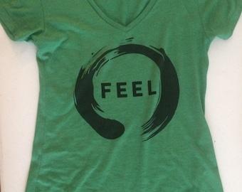 """Women's V-neck """"Feel"""" T-shirt"""