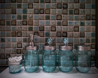 Blue Bathroom Set Etsy