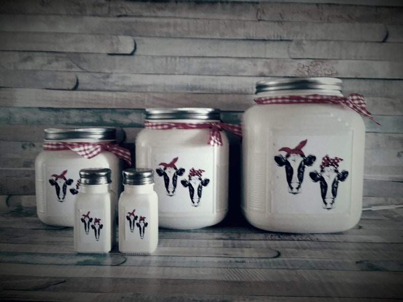 Rustic White Kitchen Canister Set with Cows Rustic Kitchen, Farmhouse  Kitchen, Country Kitchen Decor in 56 Colors and 2 Paint Finishes