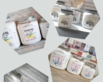 3 Piece Rustic Farmhouse Blue Truck Canister Set/Cracker Jar/Rustic Canister/Cracker Jar/ Housewarming/Wedding/Modern Farmhouse/Gift