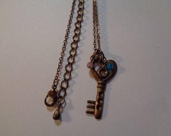 Vintage Light Weight Key Stone Necklace