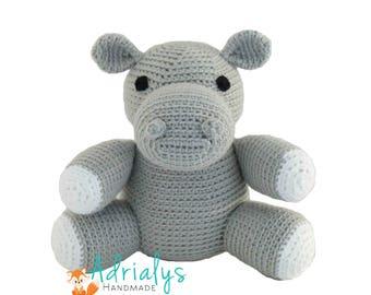 Crochet Hippo - Stuffed Hippopotamus- Hippo Plush- African Animals- Safari Animals- Handmade Hippo-Crochet Toy- Jungle Animals-Made to Order