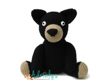 Crochet Black Bear- Woodland Nursery- Woodland Animals- Forest Animals- Handmade Bear- Crochet Toy- Toy Plush- Made to Order
