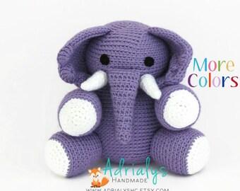 Crochet Elephant | Crochet Animals | Crochet Toy | Elephant Nursery Decor | Elephant Baby Shower | Safari Animals | Custom Made to Order