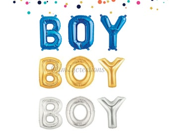 "BOY Letter Balloon | OH BOY | Boy Baby Shower Decor| Letter Banner Balloons | Foil Balloon 16""/34""/40"" Letter Balloons 