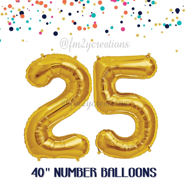 25th Birthday Decorations GOLD Number Balloons