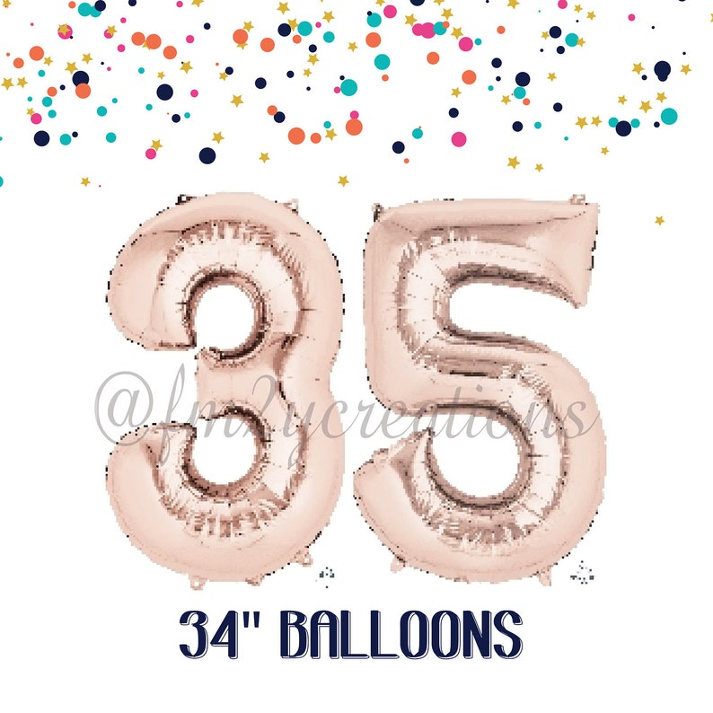 35th Birthday ROSE GOLD Number Balloons
