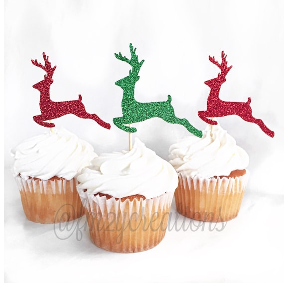 Reindeer Glitter Cupcake Toppers Cupcake Toppers Christmas