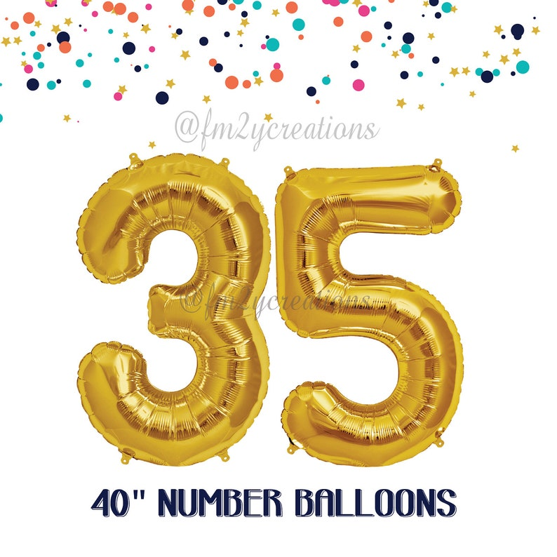 35th Birthday GOLD Number Balloons Decorations