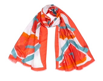 Hot Pink Printed shawl, Cashmere and Modal printed scarf, MADE IN ITALY, Soft Designer Shawl, Art to wear Original print by Dikla Levsky