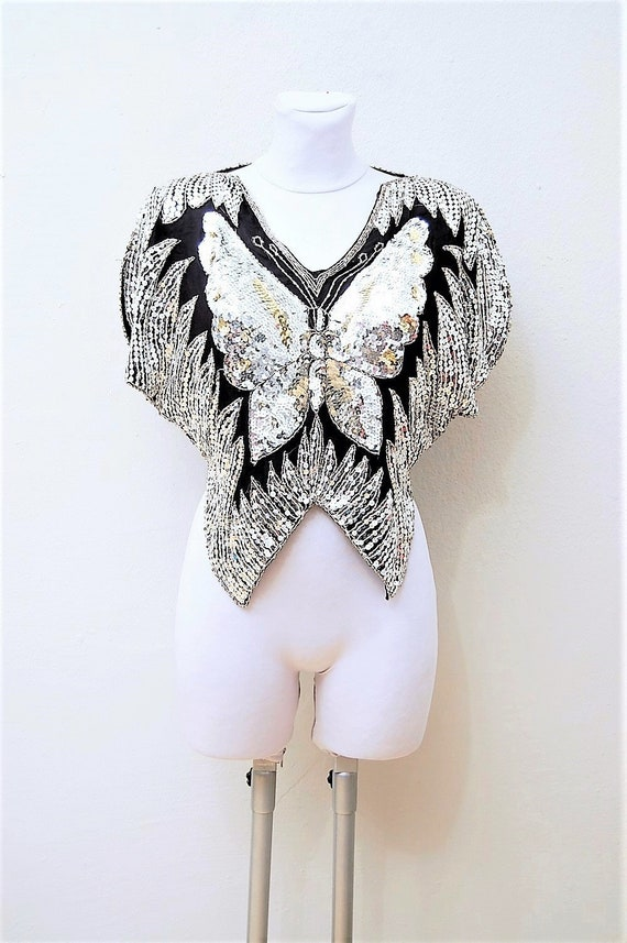 80s Vintage Sequin Top