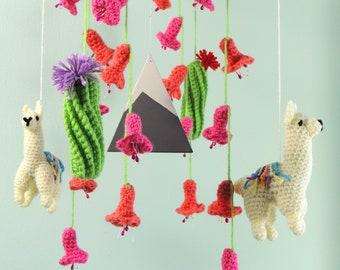 Llama Mobile Crochet Llama Baby Mobile Baby Shower Cactus Mobile Alpaca Mobile