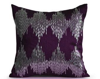 Merveilleux Purple Throw Pillow Cover, Purple Ikat Pillow, Purple Cushion, Purple And  Silver Pillows, Purple Decorative Pillow, Housewarming Gift