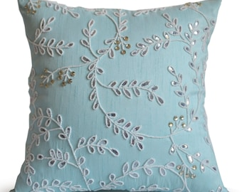 teal throw pillows. Teal Throw Pillows, Pillow Cover, Spring Summer Leaves Pillow, White Leaf Crystal Beaded Blue Lumbar Pillows S