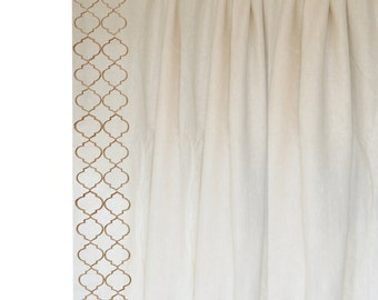 More Colours Ivory Linen Curtains Beige Trellis