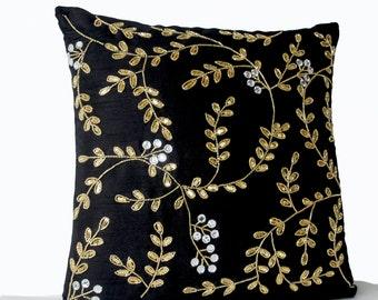 Wondrous Black Couch Pillows Gold Pillow Covers Leaf Pillow Covers Etsy Machost Co Dining Chair Design Ideas Machostcouk