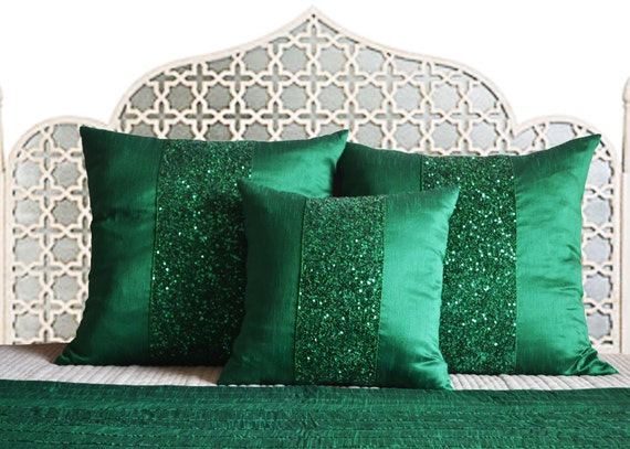 Bed Runner Pillow Covers Emerald Green Throw Sequin