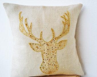 Antelope Burlap Pillow Cover, Fawn Pillow, Deer Pillow, Animal Pillow, Ivory Gold Pillow, Decorative Pillow, Gold Deer Pillow, Cottage Decor