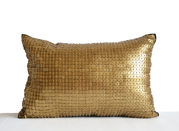 Gold Sequin Pillow Gold Accent Throw Pillow Gold Decor Gold Etsy