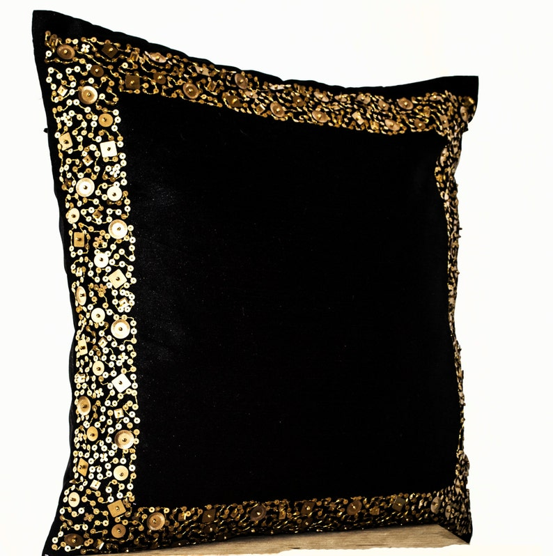 Black Gold Pillows Decorative Throw Pillow Covers Gold Etsy
