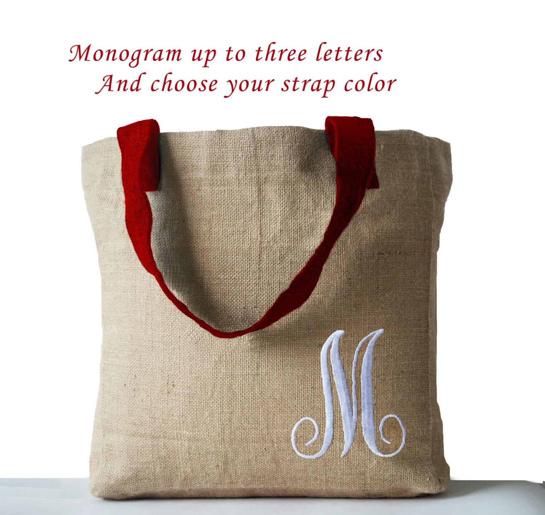 burlap tote bags monogram bag custom bags monogrammed jute | etsy