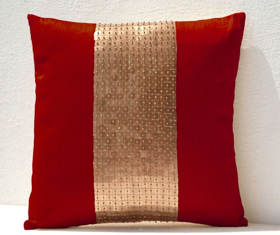 Excellent Throw Pillows Red Gold Color Block Sequin Bead Pillow Couch Pillow Covers Sofa Pillow Red Pillow Christmas Pillow Indian Wedding Gifts Inzonedesignstudio Interior Chair Design Inzonedesignstudiocom