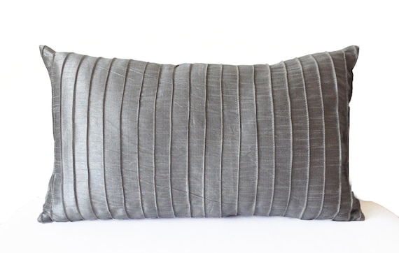 Grey Silk Pleated Textured Pillow Cover Lumbar Pillow Grey Etsy Amazing Gray Decorative Bed Pillows