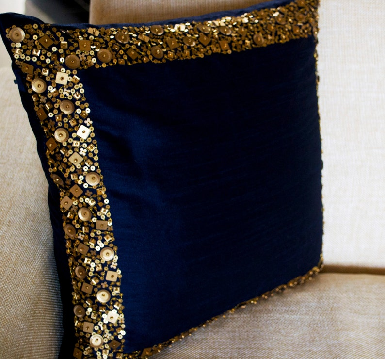 Navy Blue Throw Pillow Navy Gold Sequin Pillow Sequin Bead Pillow Navy Blue Silk Pillow Cover Housewarming Gift Gift For Mom