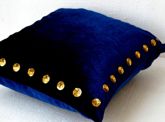 Navy Velvet Cushions Decorative Pillow Covers Blue Gold Etsy Extraordinary Navy Blue And Gold Decorative Pillows