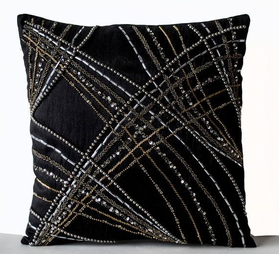 Black Throw Pillow Cover Black Silk Decorative Pillow Cover Etsy Delectable Black And Gold Decorative Pillows
