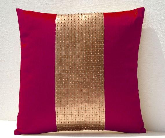 Fuchsia Pillow Decorative Pillow Fuchsia Pillows Fuchsia Etsy Inspiration Red And Gold Decorative Pillows