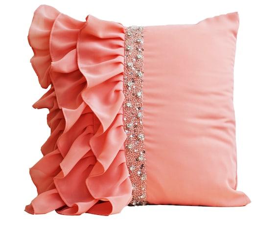 Ruffled Pillow Covers Ruffle Throw Pillow Peach Pillow Etsy Enchanting Ruffle Decorative Pillows