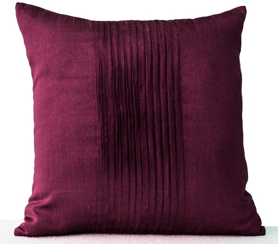 Purple Throw Pillow Cover Faux Silk Pleat Decorative Pillow Etsy Stunning Faux Silk Decorative Pillows