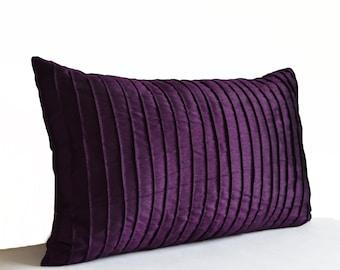 Purple Throw Pillow Cover, Lumbar Pillow Cover, Oversized Lumbar Pillow Case, Large Lumbar Pillow, Textured Lumbar Pillow