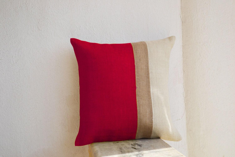 Burlap Pillow Covers Red Jute Cushion Color Block Pillow