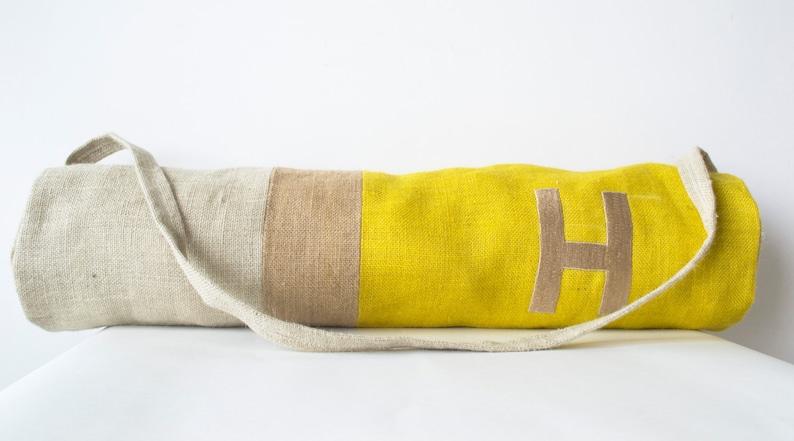 Monogram Yoga Bags Burlap Yoga Bag Color Block yoga mat image 0