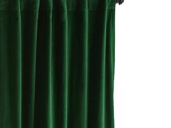 Dunkle Smaragd Grun Samt Vorhang Drapes Samt Vorhang Samt Etsy