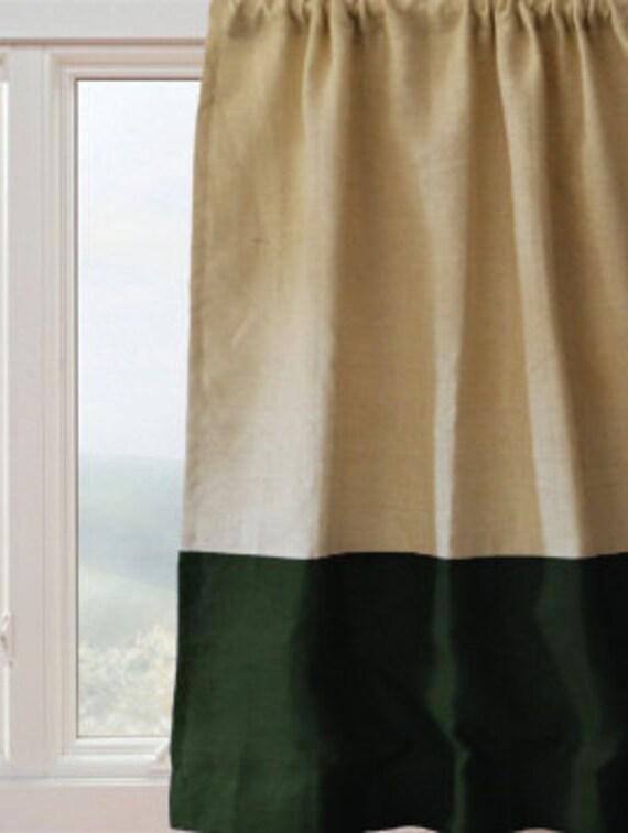 rideau panneau rideaux de toile de jute vert ivoire etsy. Black Bedroom Furniture Sets. Home Design Ideas
