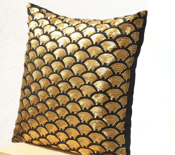 Gold Pillows Embroidered Waves Pillow Sequin Pillow Black Etsy
