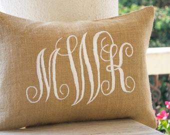 Burlap Monogram Pillows Cover, Custom Lumbar Monogram Pillow, Cursive Three Letters Monogram Pillows, Initial Cushion, Gift, Wedding Pillow