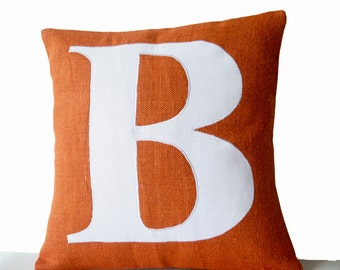 Monogram Pillow Cover, Initial Pillow Orange White Typography Pillow, Burlap Pillow Cover, Mother's day gifts, Big Letter Pillow Cushion.
