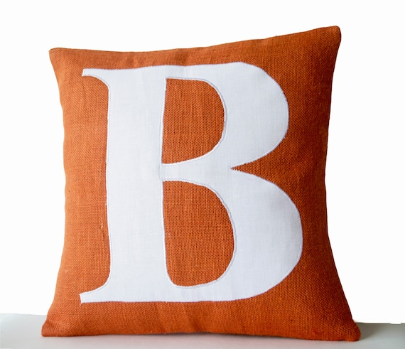 Monogram Pillow Cover Initial Pillow Orange White Typography Cool Initial Pillow Covers