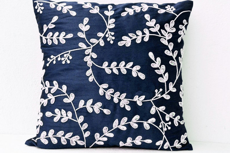 Navy Blue Throw Pillows Bead Sequin Leaves Pillow Silk Etsy