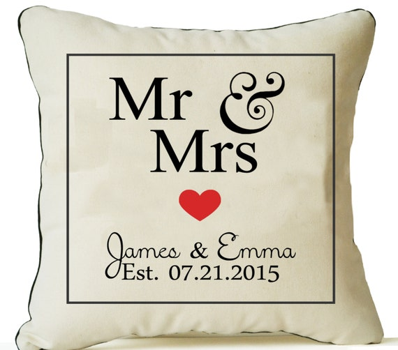 Personalized Pillow Covers Mr Mrs Pillow Est Date Pillow Etsy