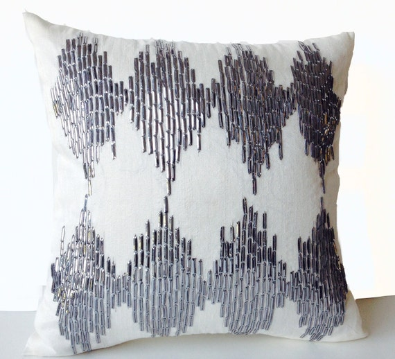 Sequin Pillow Covers Silver Gray Metallic Pillows Decorative Etsy Best Silver Sequin Decorative Pillow
