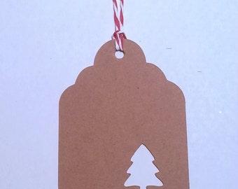 Christmas Gift Tags, Set of 10 Kraft Tags with Christmas Tree, Christmas Tree Gift Tags, Kraft Holiday Tags - choose the color you like!